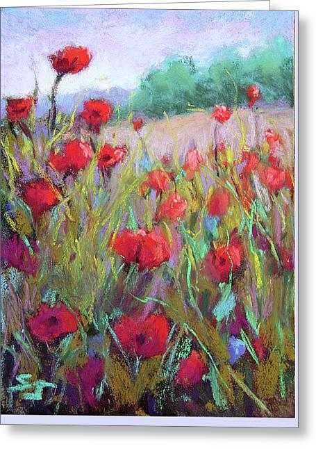 Praising Poppies Greeting Card by Susan Jenkins