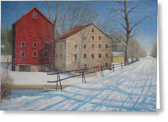 Greeting Card featuring the painting Prallsville Mill In The Snow by Oz Freedgood