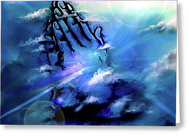 Greeting Card featuring the digital art Pray by Darren Cannell