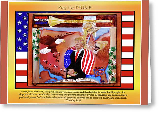 Pray For President Trump Greeting Card by Jennifer Page