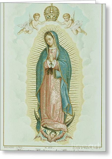 Prayer Card Depicting Our Lady Of Guadalupe Greeting Card by French School