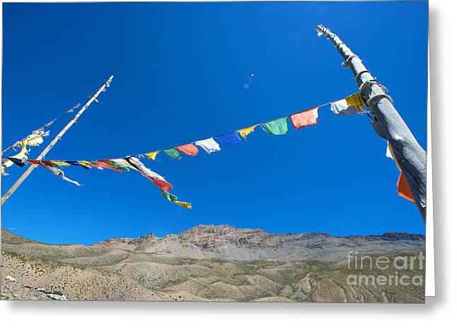 Greeting Card featuring the photograph Prayer Flag by Yew Kwang