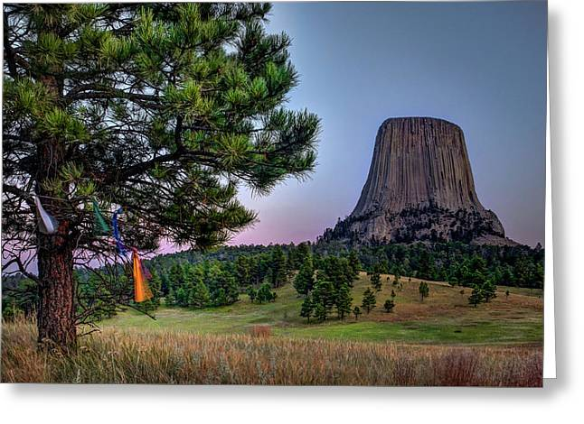 Prayer Flags At Devils Tower Greeting Card