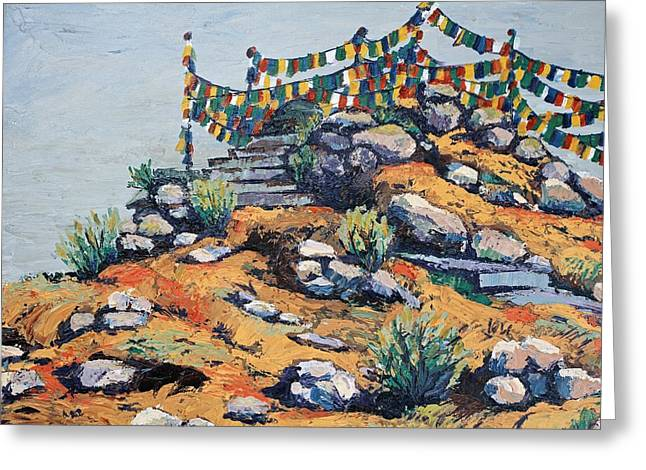 Prayer Flags In The Mist Greeting Card