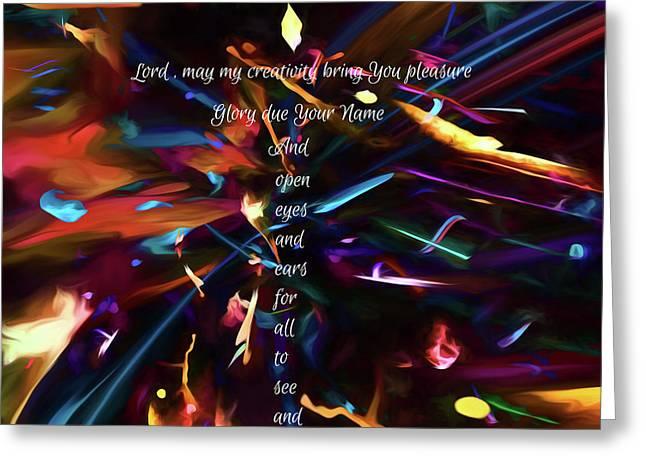 Greeting Card featuring the digital art Prayer Of An Artist 2 by Margie Chapman