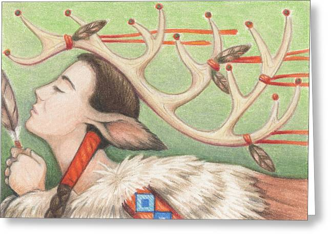 Prayer Of Elk Woman Greeting Card by Amy S Turner