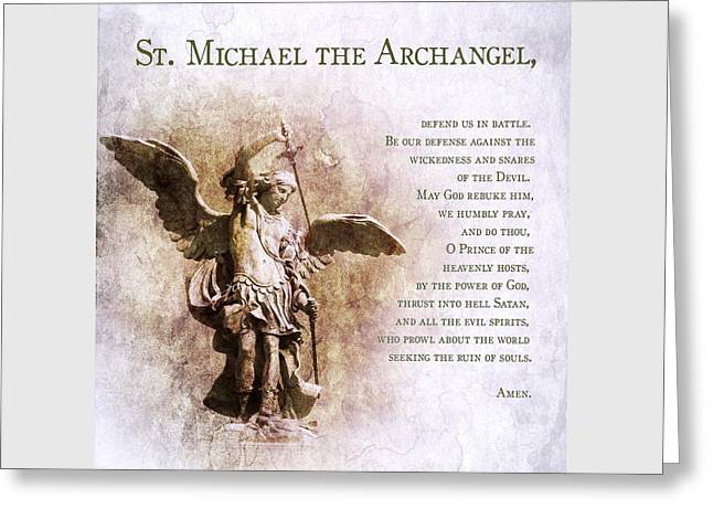 Prayer To St. Michael The Archangel Greeting Card by Andy Schmalen