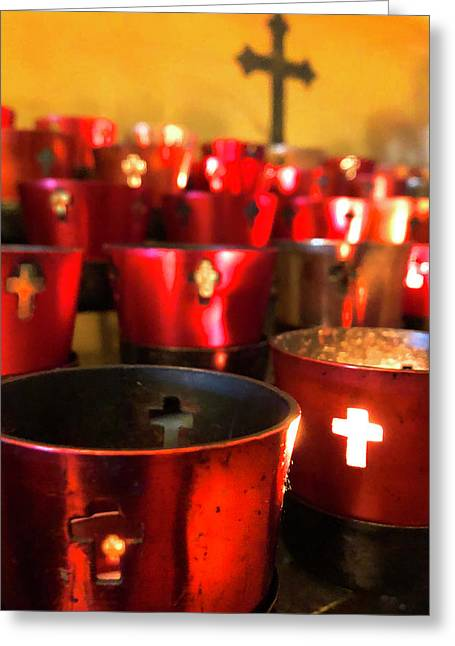 Greeting Card featuring the photograph A Candle For Nonna by Joann Vitali