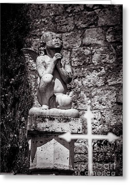 Praying Angel In Auvillar Cemetery Bw Greeting Card