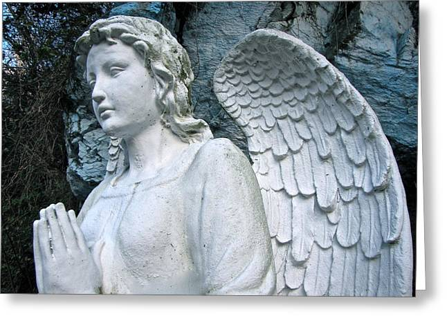 Praying Angel Greeting Card by Lori Miller