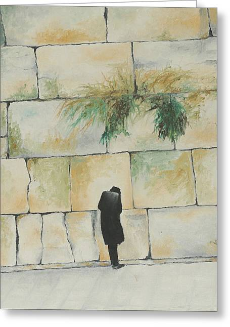 Praying At The Western Wall Greeting Card by Miriam Leah