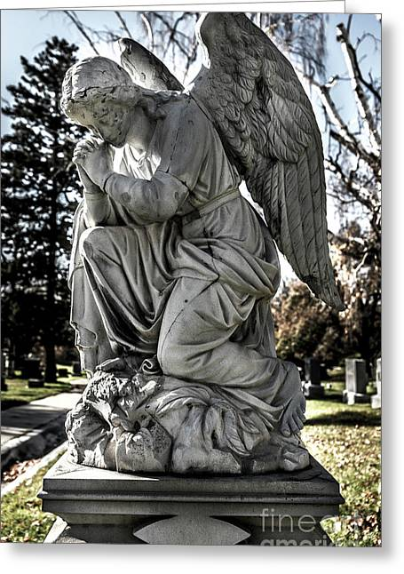 Praying Cemetery Angel  Greeting Card by Gary Whitton
