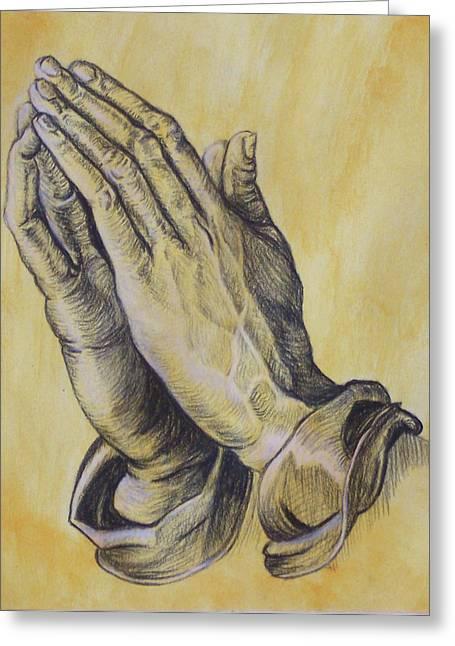 Praying Hands Greeting Card by Donovan Hubbard
