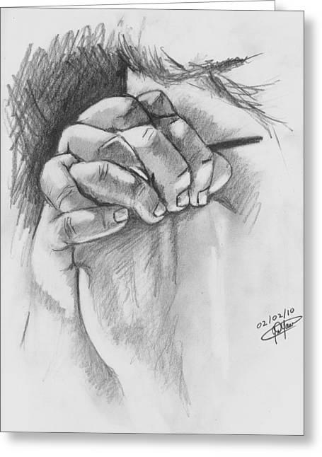 Praying Hands Drawings Greeting Cards - Praying Hands Greeting Card by Jason Yaw