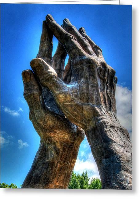 Praying Hands Sculpture Greeting Card by Ann Higgens
