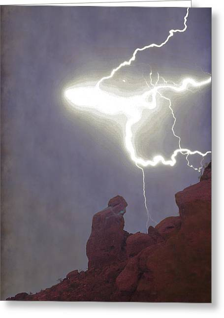 Praying Monk Lightning Burst Of Energy From Above Greeting Card by James BO Insogna