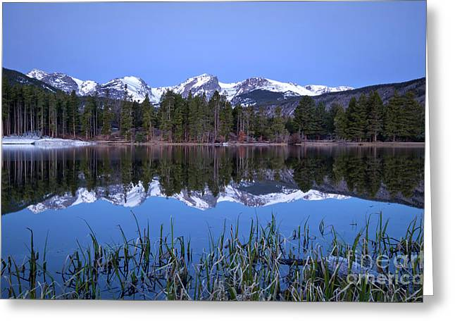 Pre Dawn Image Of The Continental Divide And A Sprague Lake Refl Greeting Card