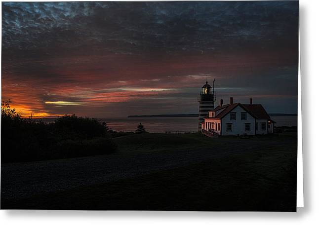 Pre Dawn Light At West Quoddy Head Lighthouse 2 Greeting Card by Marty Saccone