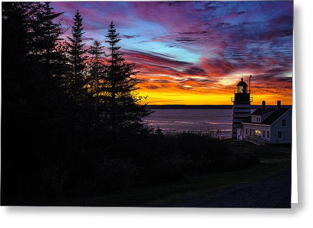 Pre Dawn Light At West Quoddy Head Lighthouse Greeting Card