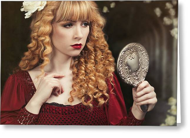 Pre-raphaelite Woman Greeting Card by Amanda Elwell