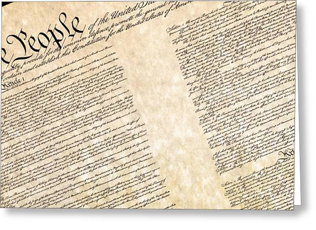 Preamble Of The Constitution Of The United States Greeting Card by Jack R Perry