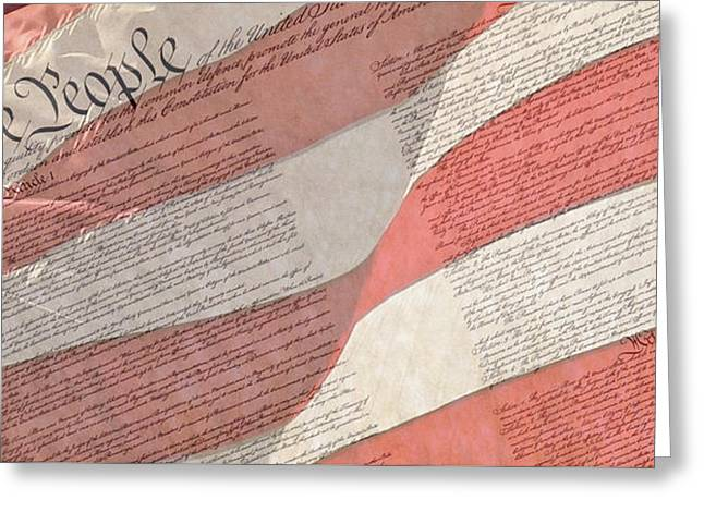 Preamble Of The Constitution Of The United States With Us Flag Greeting Card by Jack R Perry