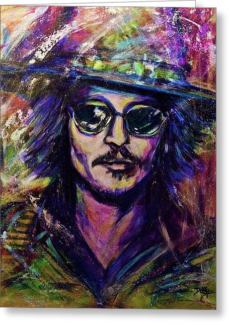 Precious Metals, Johnny Depp Greeting Card by Debi Starr