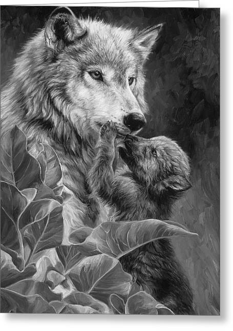 Precious Moment - Black And White Greeting Card by Lucie Bilodeau