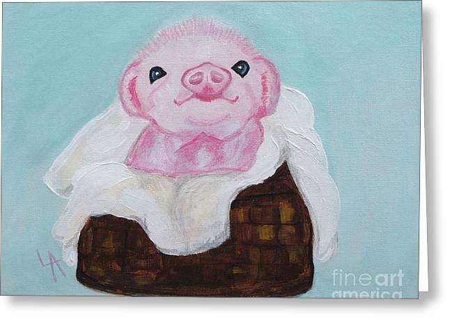 Precious Piglet Greeting Card by Leslie Allen