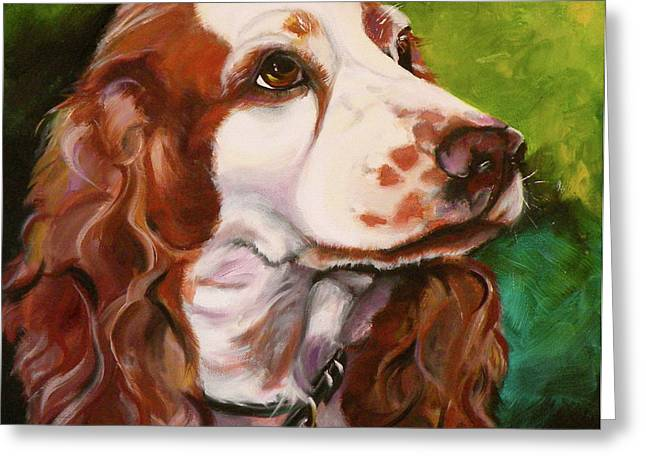 Spaniel Drawings Greeting Cards - Precious Spaniel Greeting Card by Susan A Becker