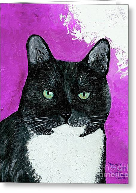 Greeting Card featuring the painting Precious The Kitty by Ania M Milo