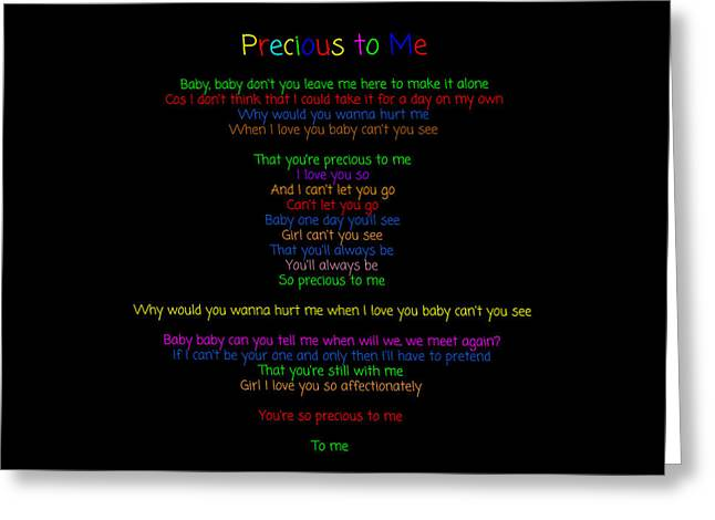 Precious To Me 11 - Song Lyrics Greeting Card by J A Art Gallery