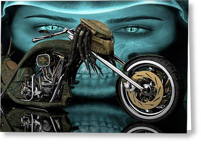 Greeting Card featuring the digital art Predator Chopper by Louis Ferreira