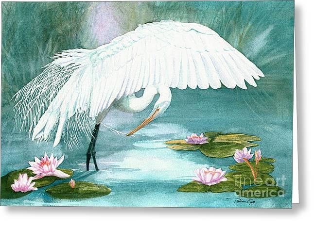 Preening Egret Greeting Card by Pauline Ross
