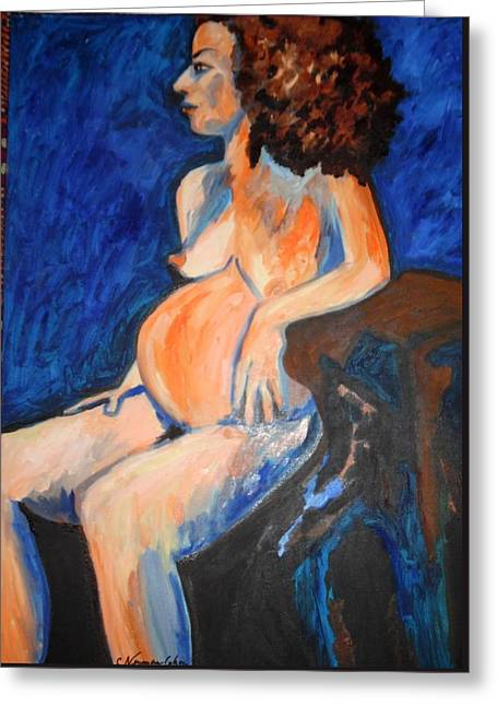 Greeting Card featuring the painting Pregnant Woman In Blue by Esther Newman-Cohen
