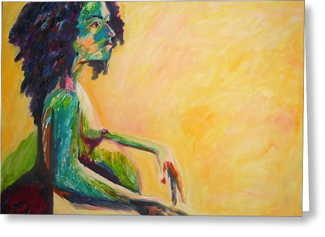 Greeting Card featuring the painting Pregnant Woman In Yellow by Esther Newman-Cohen