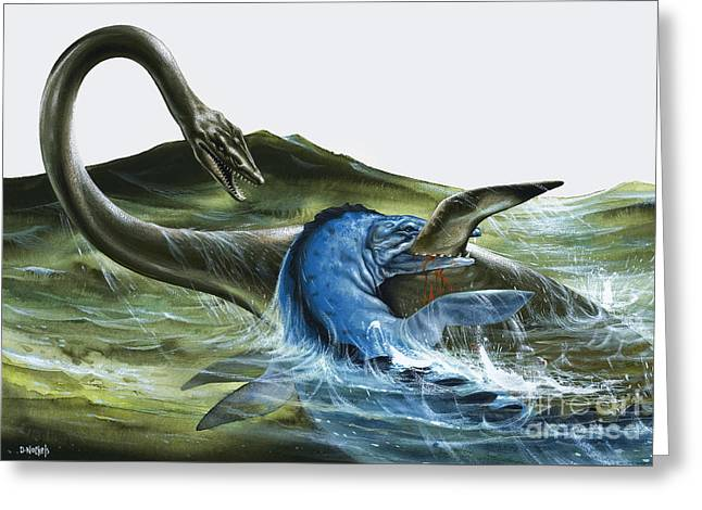 Prehistoric Creatures Greeting Card by David Nockels