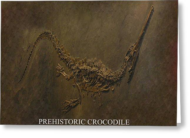 Prehistoric Crocodile - Fossil Greeting Card by Tray Mead