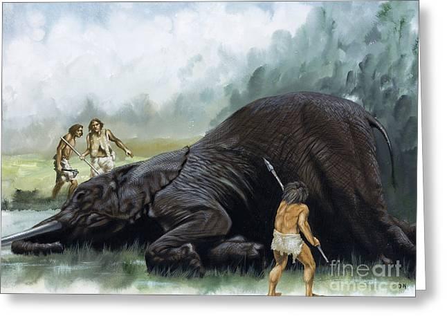 Prehistoric Hunters Greeting Card