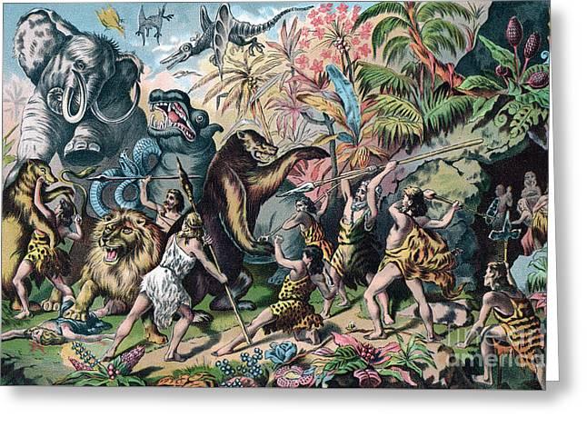 Prehistoric Man Battling Ferocious Animals Greeting Card