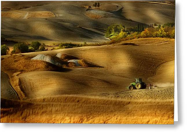 Preparation For Sowing - Volterra (pi) - Toscana - Italy Greeting Card by Antonio Grambone