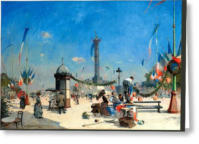 Preparations For 14 July Celebrations In Place De La Bastille Greeting Card by Louis Jules Dumoulin