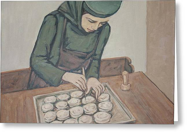 Greeting Card featuring the painting Preparing Communion Bread by Olimpia - Hinamatsuri Barbu