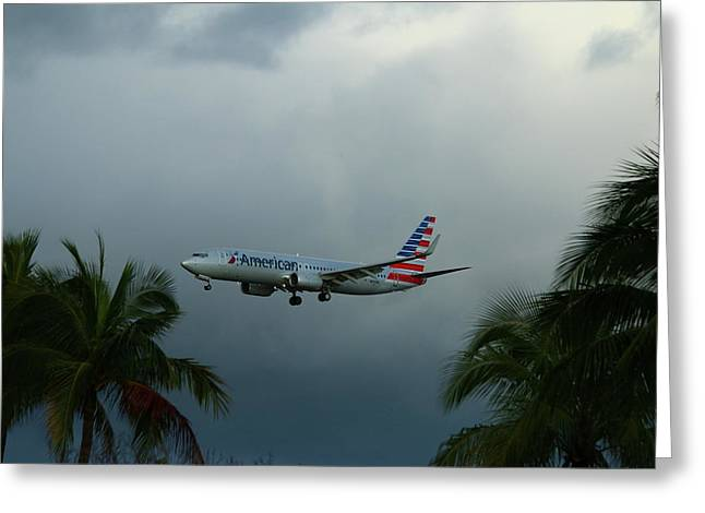 Preparing For Landing On Miami Airport Greeting Card by Christiane Schulze Art And Photography