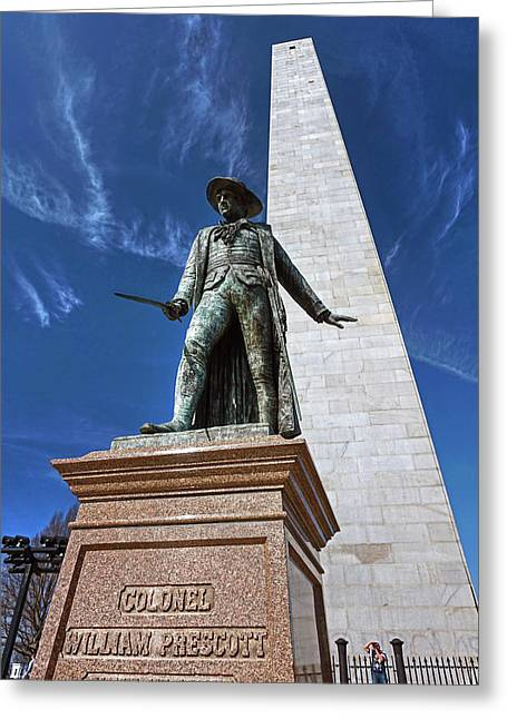 Greeting Card featuring the photograph Prescott Statue On Bunker Hill by Wayne Marshall Chase