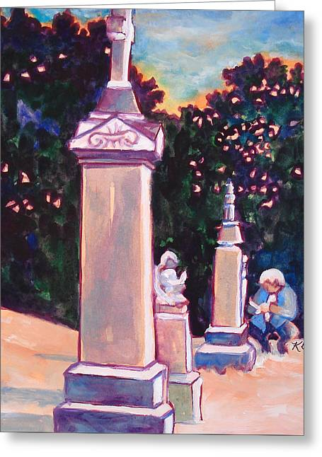 Present Meets Past Greeting Card by Kathy Braud