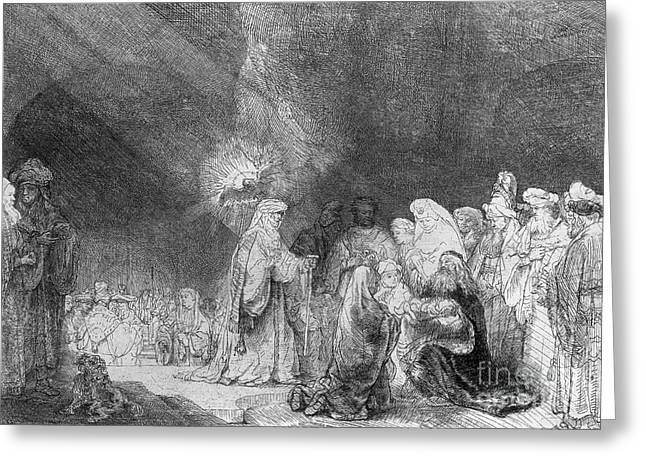 Presentation In The Temple Greeting Card by Rembrandt
