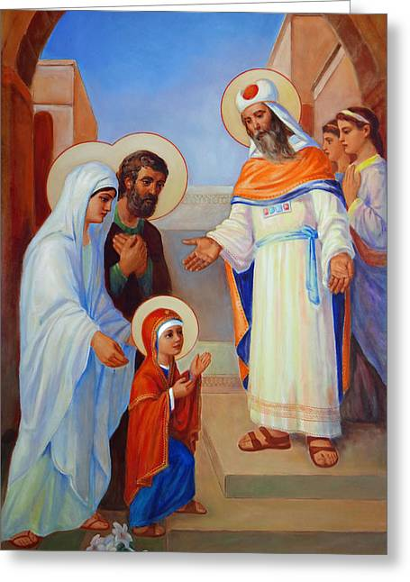 Presentation Of Mary In The Temple  Greeting Card by Svitozar Nenyuk