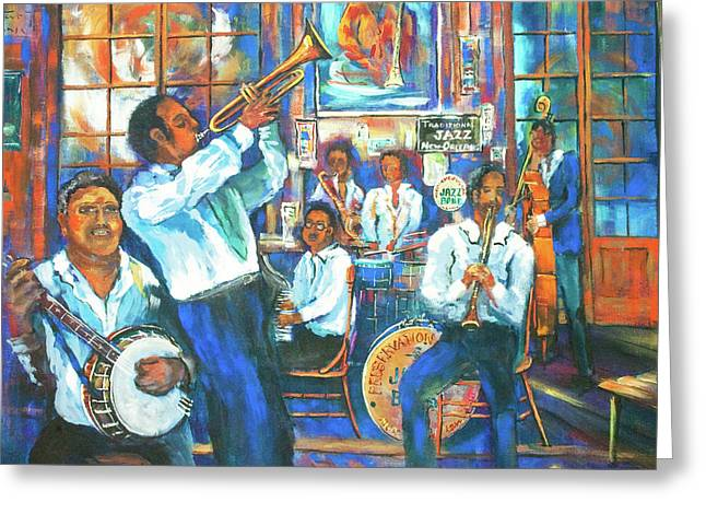 Preservation Jazz Greeting Card by Dianne Parks