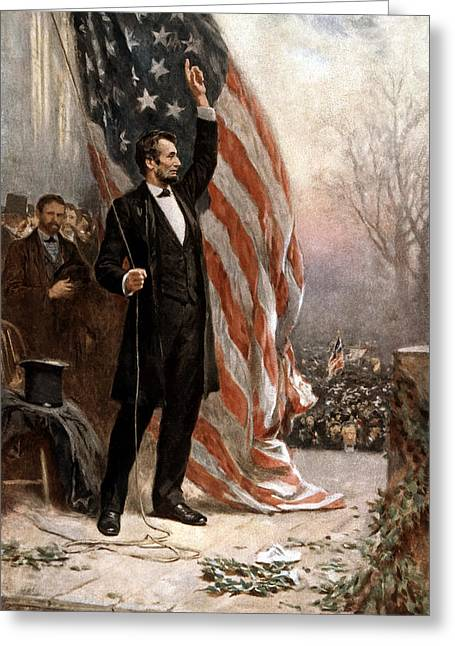 Politicians Paintings Greeting Cards - President Abraham Lincoln Giving A Speech Greeting Card by War Is Hell Store